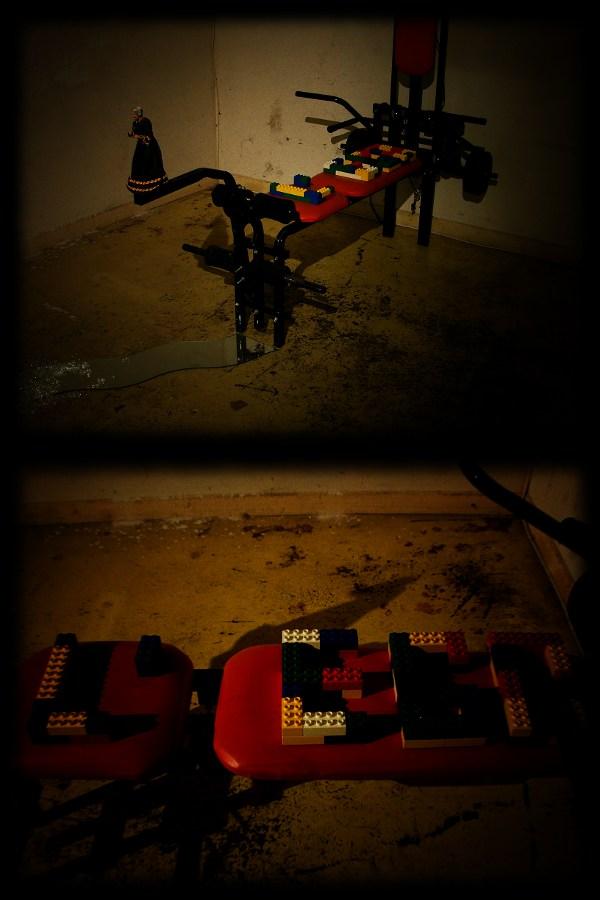 Lego - banc de musculation, santon, Lego, débris de verre, bout de miroir.